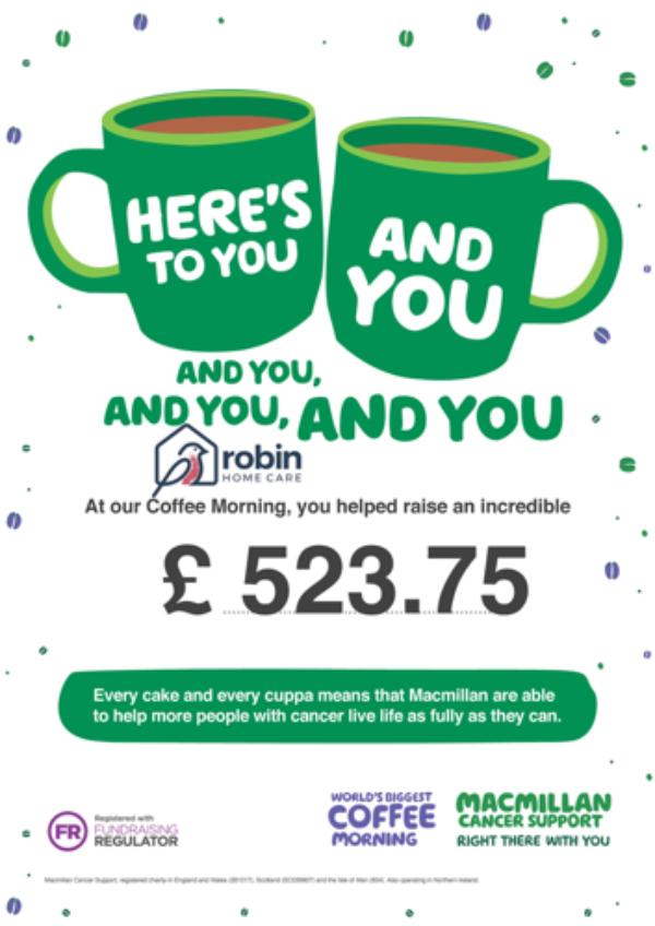 Macmillan Cancer Support money raised
